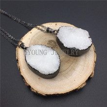 MY0925 Oval Clear Quartz Druzy Pendant White Crystal Charm Necklace with Gun Black Chain kolye(China)