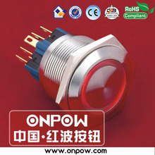 ONPOW 25mm 2NO2NC stainless steel momentary ring illuminated pushbutton switch GQ25-22E/R/12V/S(China)