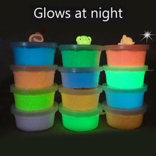 12colors/box Glows At Night Light Polymer Clay Air Dry Playdough Soft Modeling Jumping Intelligent Plasticine Slime Toys(China)