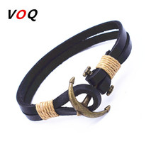 Wholesale Cuff braided Wrap Bracelet & Bangles Men Jewelry Pirate 3 Types Style Genuine Leather Anchor Bracelets Gifts