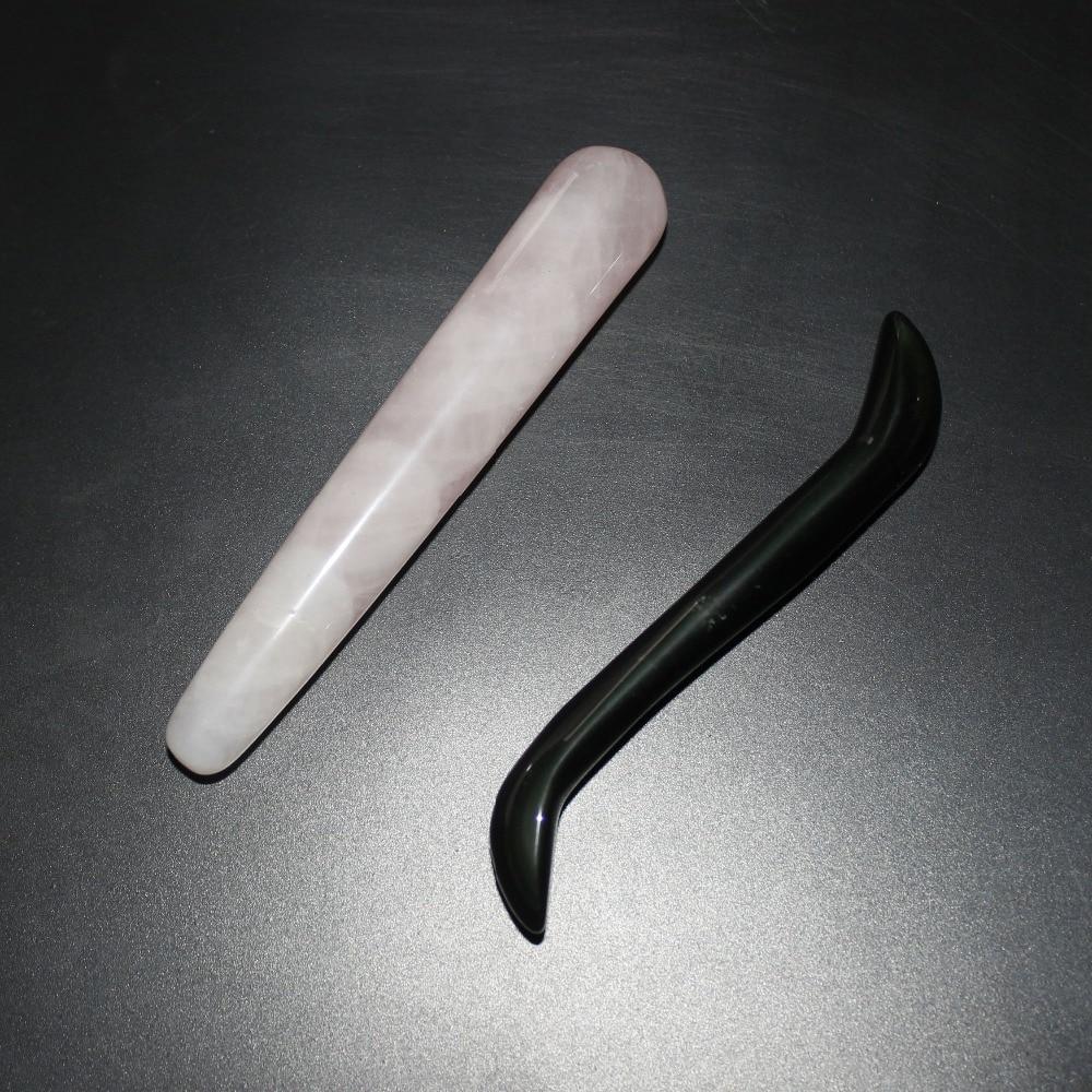 natural rose quartz massage wand obsidian relaxing S shape wand reiki healing stone crystal wand Chakra for body massage<br><br>Aliexpress