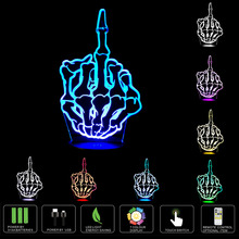 Middle Finger 3D Lamp Room Bedroom Decorative NightLight Touch Switch LED Desk Table Kiddie Kids Gift Home Color Changeable