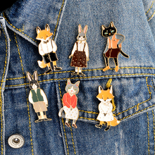 6pcs/set Cartoon Animal Brooch set Fox Rabbit Cat Kitten Pins Buckle Bag Denim jacket Sweater Collar Lapel Pin Badge Jewelry(China)