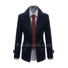 Custom made 2017 New design Navy woolen Trench coat men fashion Slim Fit Outerwear Mens Coat Warm Winter Overcoat(China)