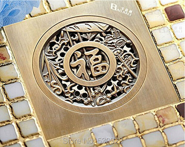 Newly 4-inch Bathroom Floor Strainer Solid Brass Antique Brass Bathroom Square Shower Drain Chinese Good Luck Shape<br><br>Aliexpress