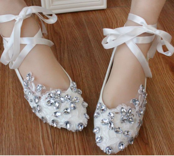 Flat heel lace rhinestones ribbons wedding shoes womens, custom make low med high heels bridal dance shoe, girls party shoe<br><br>Aliexpress