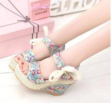 Women's Sandals Size 35-40 Women Shoes Summer Wedges Female Sandals Platform Lace Belt Bow Flip Flops Open Toe high-heeled