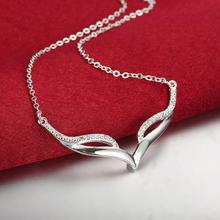 Special Design Wing Shape Pendant Link Chain  Silver Necklace Women Ladies Girls Party Anniversary Jewelry Accessories