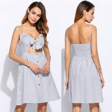 2017 Cut Out Clothes Party Casual Long Size Beach Stripes Dresses Women Clothing Spaghetti Strap Summer Crop-Top Women'S Dress
