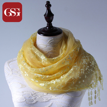 GSG New Fashion Soft Silk Scarf Wrap for Women 2017 Spring Autumn Floral Scarves with Flowers Sequins Yellow Female Collection