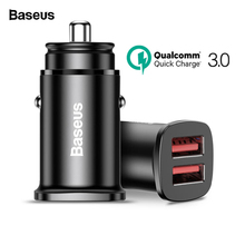 Baseus QC3.0 Dual USB Car Charger AFC SCP Quick Charge Car Charging iPhone Xs max Huawei Mate20 Samsung Fast USB Car-charger