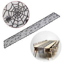 1PCS Table Runner Black Lace Spider web Fireplace Cover Halloween Party Decoration 13