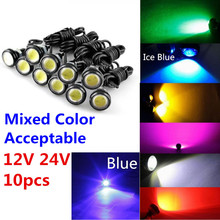 CYAN SOIL BAY 9W 12V 24V 18MM 23MM LED Eagle Eye Light Car Fog DRL Daytime Reverse Parking Signal Yellow Amber Blue White Red(China)