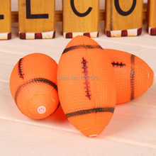 Novelty Dog Squeaky Toy For Pet Dog Chew Toy Small Rubber Squeaky Rugby Ball Playing Products Orange rZD94