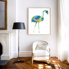 Unframed Watercolour Flamingo Turquoise Blue Canvas Print Painting Poster Wall Art Picture For Living Room Home Decoration LZ295