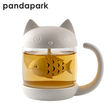 Pandapark Cute Cat Glass Personality Milk Mug With Infuser Office Coffee Tumbler Creative Breakfast Mugs MCC042(China)