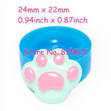 Free Shipping DYL204U Dog Pawprint Flexible Silicone Push Mold 24mm - Polymer Clay Sugarcraft Miniature Food Mould, Food Safe