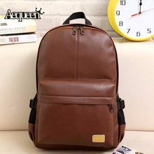 AEQUEEN Fashion Leather Backpacks Men Brown Women Rucksack Bolsas school bags for teenagers backpack school