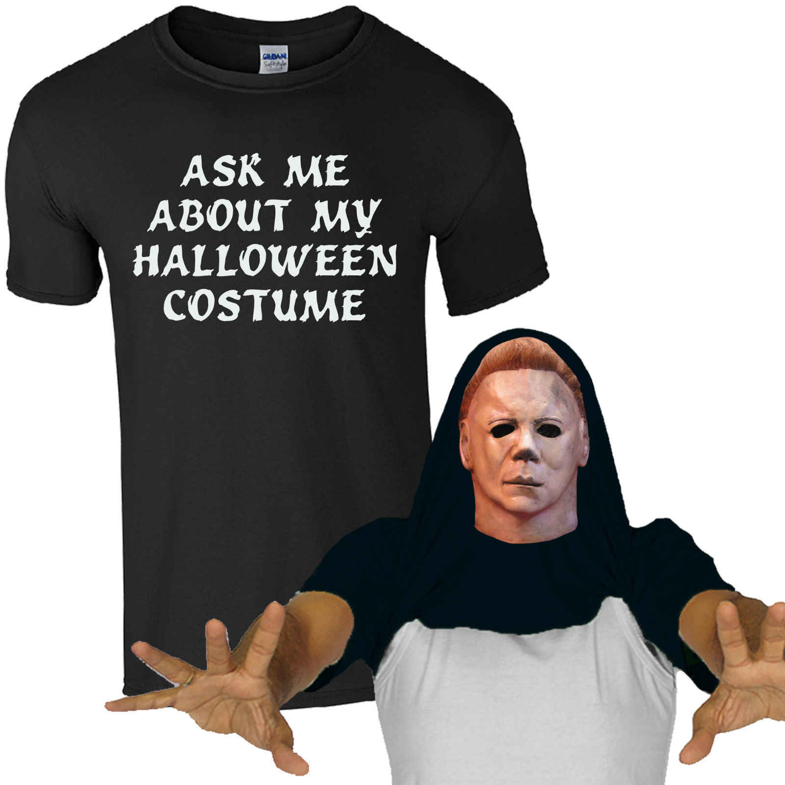 Ask Me About My Halloween Costume Mike Myers T,Shirt Funny Zombie Mens Flip  Top Cool Casual pride t shirt men Unisex New Fashion
