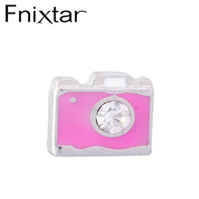 Fnixtar Enamel Pink Camera Floating Charms Zinc Alloy Fit Floating Lockets & Floating Locket Bracelet 50Piece/lot(China)