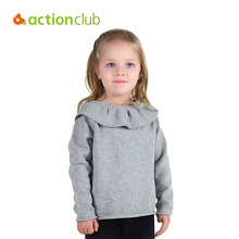 Actionclub Girls Spring Sweater Children Fashion Flounced Sweater Baby Girls Warm Knitted Clothes Kids Knitwear Girls Clothing(China)