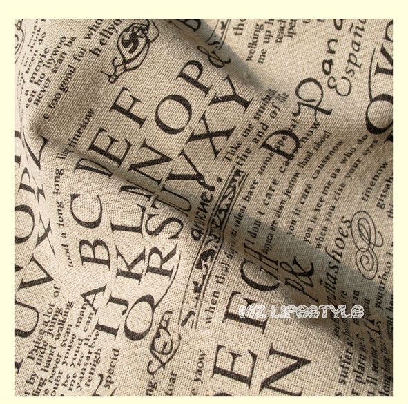 Buulqo 100*140cm width retro upholstery printed enligh letters cotton linen fabric by meter  DIY  home decor fabric hemp fabric 8