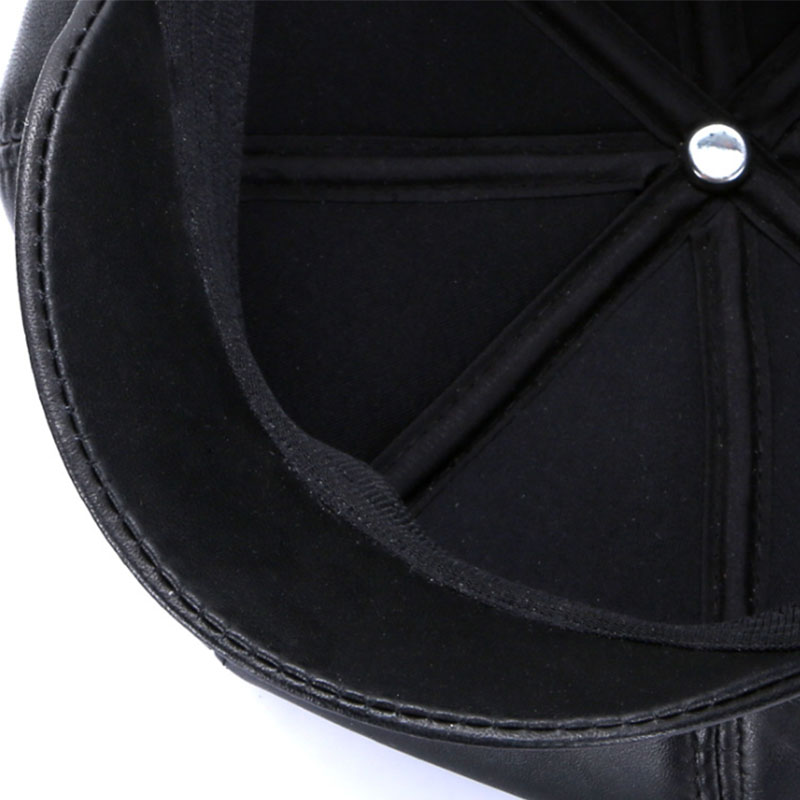 New Winter 100% Leather Beret, Hats for Women, Genuine Leather Berets, Octagonal Hats 22