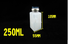 High quality 250ml Capacity Liquid Push Down Oil Alcohol Dispenser Clear Bottle Container