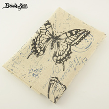 Booksew  Cotton Linen Fabric  Butterfly  Design Sewing Material  For Tablecloth Pillow Bag Curtain Cushion Zakka Tissu CM