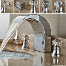 Luxury Big Waterfall Spout Bathroom Basin Mixers Deck Mount Two Handle Brass Faucet Tap Hot and Cold Water