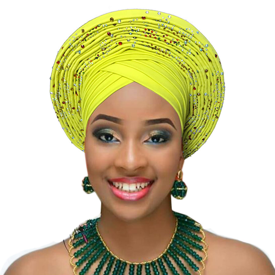 2018 Nigerian gele headtie already made auto hele turban cap african aso ebi gele aso oke headtie big brim (9)