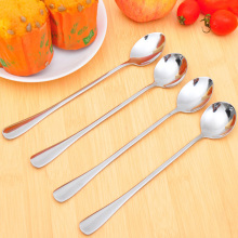 Cute long handle ice cream tea coffee handle stainless steel spoons flatware cocltail soup spoons kitchen tools(China)