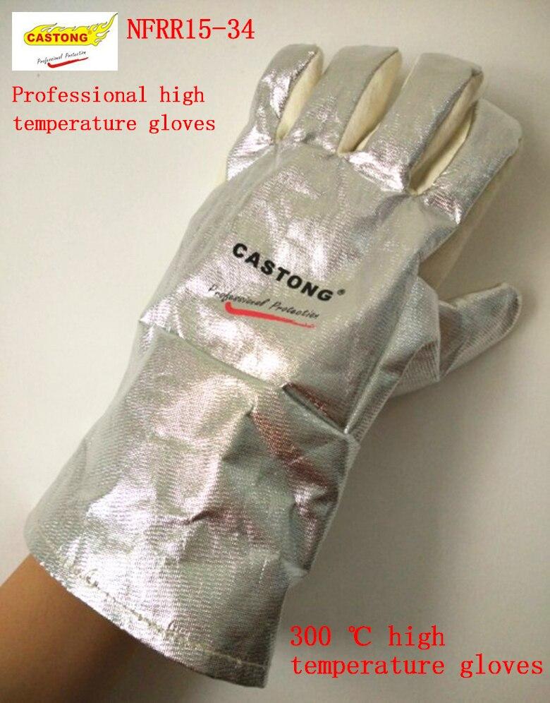 CASTONG 300 degrees high temperature gloves Para-aramid + aluminum foil material High temperature fire gloves<br>