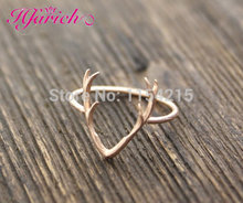 New Fashion Antler ring in Gold  Silver Rose Gold Animal Ring Deer Ring for Women Simple Rings Gift EY-R136