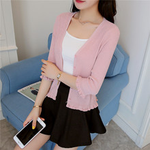 - Korean women's new color knitting cardigan  ice linen button
