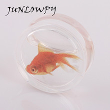 CLEAR ACRYLIC GOLDFISH FLESH PLUG TRANSPARENT SADDLE EAR TUNNEL LOBE STRETCHER 1 pair body jewelry piercing ear tunnel
