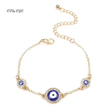 1pc Blue round evil eye charm bracelet fashion three crystal pendents with lobster link chain bracelet for women girl(China)