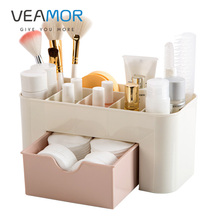 VEAMOR Plastic Cosmetic Storage Box Multi-functional Desktop Storage Boxes Drawer Makeup Organizers Fashion Stationery Boxes(China)