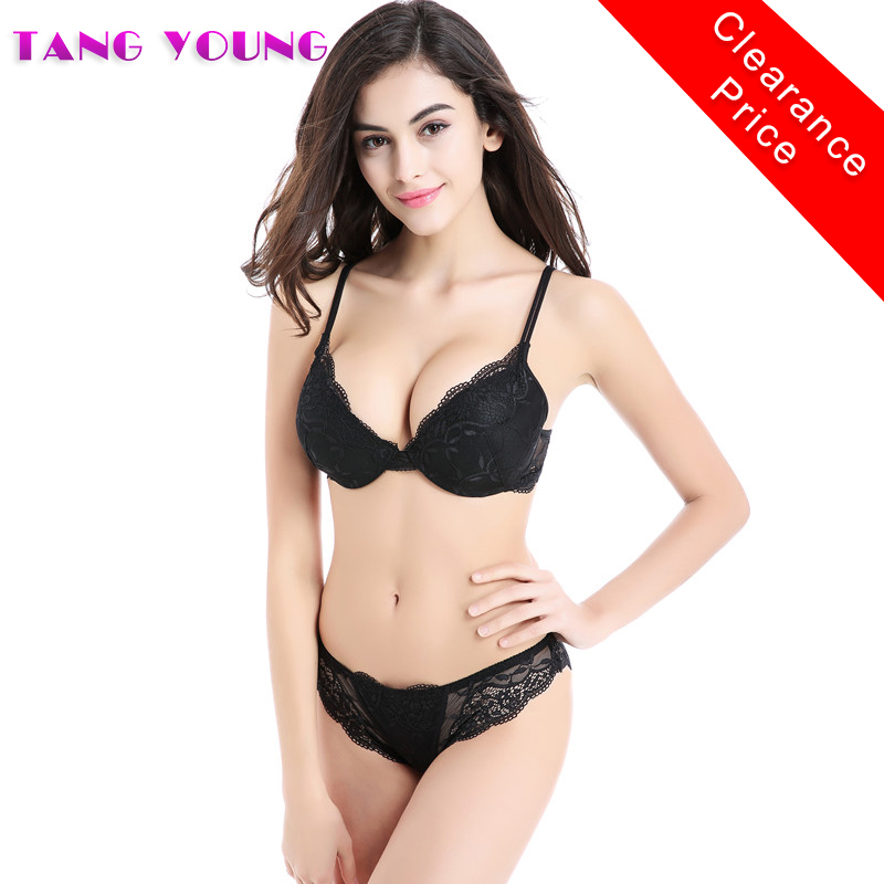 Sexy Lingerie China 2017 Women Embroidery Satin Bra Set Push Up Deep V Bra Set 3/4 Cup Sheer Lace Transparent Bra And Panty Sets