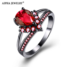 AIPHA Black/Green/Red/Purple Pear Cut Crystal Female Ring For Women Wholesale Top Quality Wedding Anel Jewelry LKN18KRGPR1131(China)