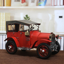 Red Classic Ironwork Ancient Cars Collection Showcase Craftwork Handmade Retro Vehicle Model