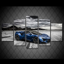 5 piece art canvas painting HD print wall decorations living room cool blue race car mountain black and white wall art ny-6032