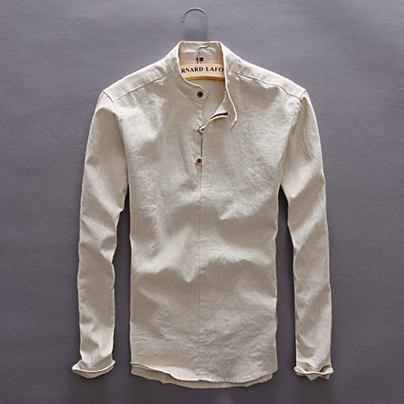 New Mens Leisure Style Dress Shirts Long Sleeve Button-down Collar 100% Cotton Linen Soild Classic Slim Fit Mens Clothing Y005 10
