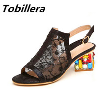 Tobillera Summer Sexy Lace Mesh Upper Women Open Toe Sandals Fashion Colorful Stone Decor Heels Nude White Black Dress Shoes