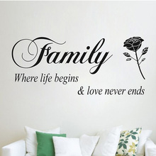 Family Where Life Begins Love Never Ends Quotes Wall Stickers home decor Flower Rose wall decals Living Room Bedroom Decoration(China)
