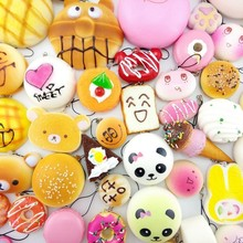 10Pcs/set Bread Cell Phone Decoration Squishy Straps Soft simulation Food Animal Phone Drop Ornament  relase stress baby toy