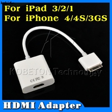 Kebidu 1pcs Digital 30Pin Dock to HDMI Adapter Cable Connector For Ipad For Iphone for Ipod Touch HDTV 1080P(China)