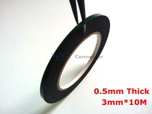 3mm*10M*0.5mm Thickness Black Double Sided Adhesive Sponge Foam Tape Gasket for Cellphone Tablet Repair dust proof