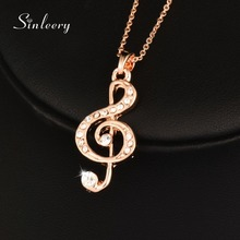 SINLEERY Fashion Crystal Musical Notes Pendant Necklace For Women Girl Lady Rose Gold Color Chain Statement Jewelry Xl486(China)