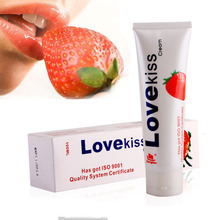 Love kiss100ml Strawberry Cream Edible Lubricant Lubricant For Blow Job or Vaginal Sex Gay Anal Sex Lubricants Sex Products(China)